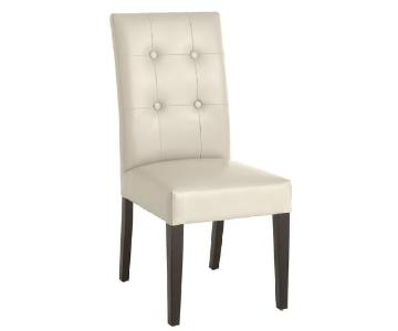 Pier 1 Ivory Dining Chair w/ Espresso Wood Legs