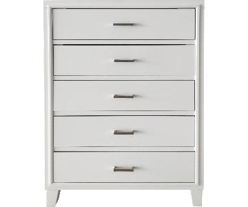 White 5-Drawer Chest w/ Silver Pull Handles