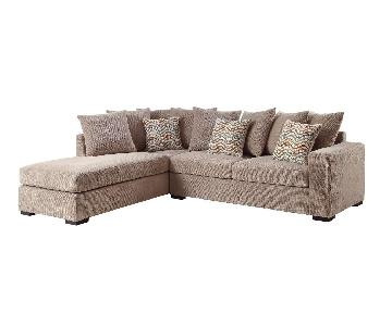 Taupe Color Textured 2 Piece Sectional Sofa