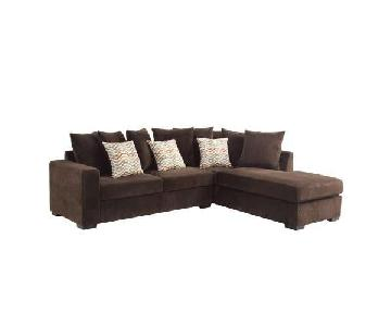Chocolate Color Textured 2-Piece Sectional Sofa