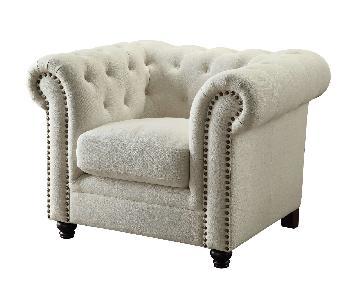 Tufted Oatmeal Fabric Chair w/ Nailheads