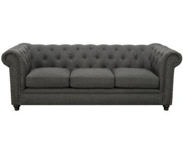 Tufted Grey Fabric Sofa w/ Nailheads