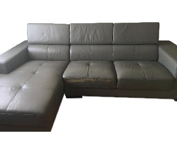 Leather L-Shaped Sectional Sofa w/ Adjustable Back