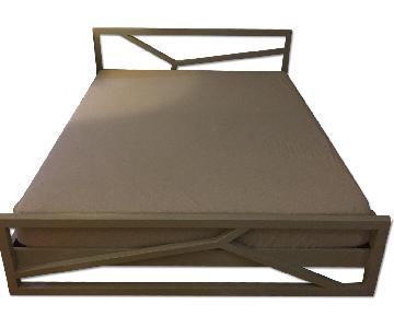 CB2 Grey Bed w/ Hi-Gloss Lacquer Finish