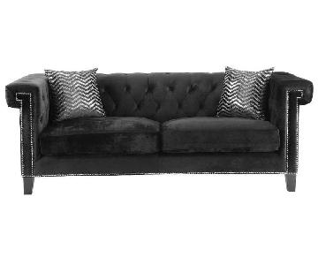 Tufted Black Velvet Sofa w/ Nailhead