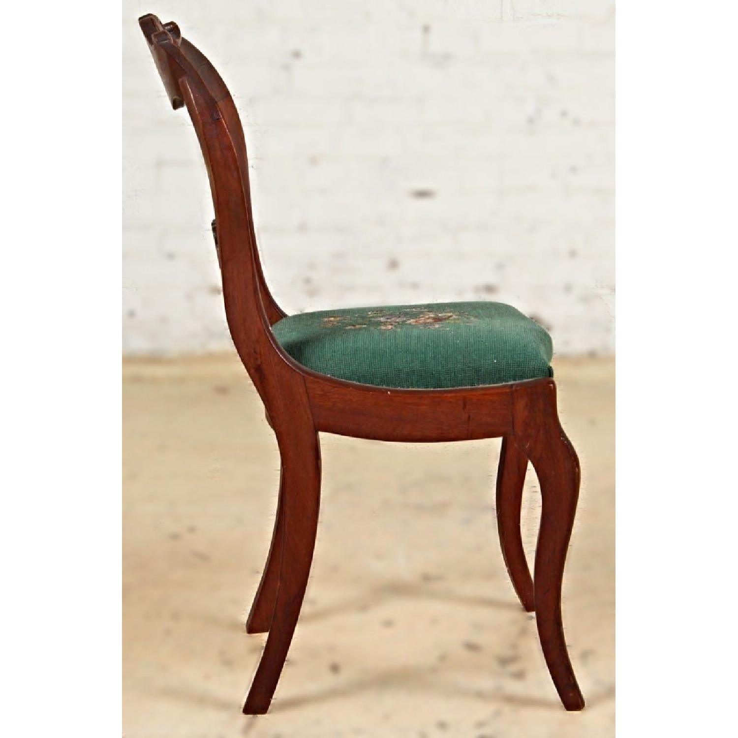 Vintage Victorian Needlepoint Upholstered Dining Chair 0