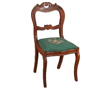 Vintage Victorian Needlepoint Upholstered Dining Chair