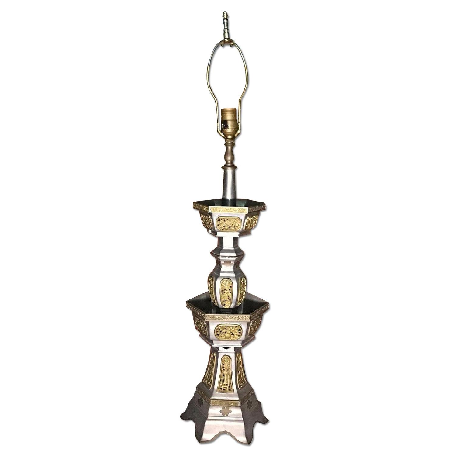 Antique Asian Metal Stand Lamp