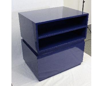 Mid Century Modern Blue Bookshelf/Coffee Table