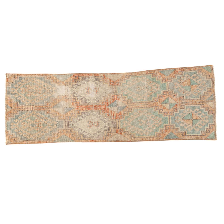 Vintage Distressed Oushak Fragment Runner Rug