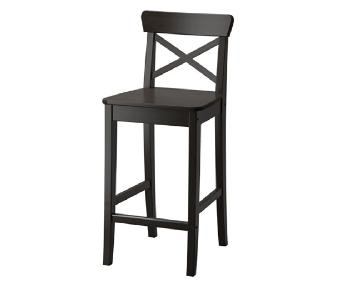 Ikea Bar Stool w/ Backrest in Brown-Black