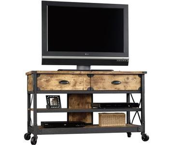 Rustic Country Antiqued Black/Pine Panel TV Stand