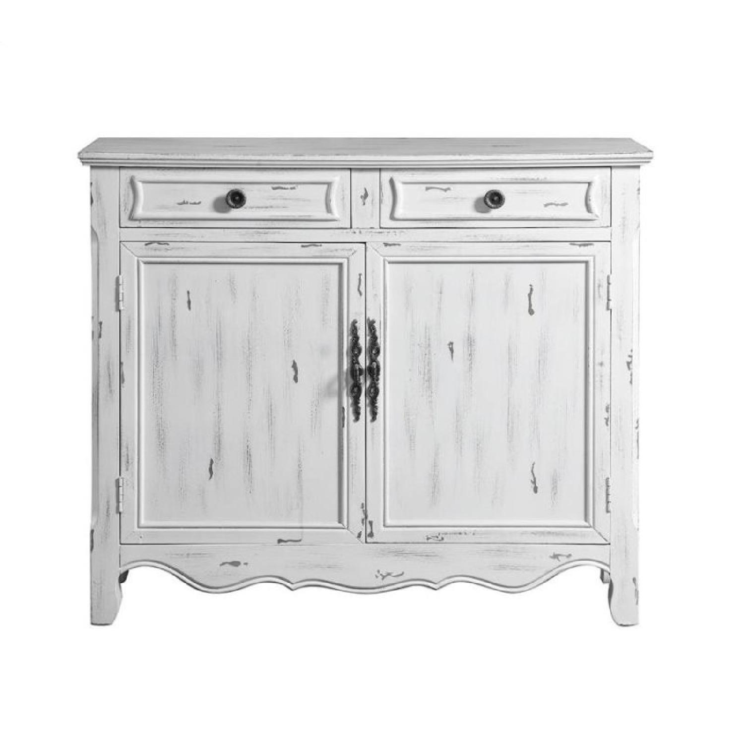 Distressed White Accent Cabinet ...