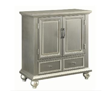 Silver Metal Finish Accent Cabinet