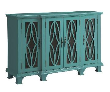 Classic Teal Blue Accent Cabinet