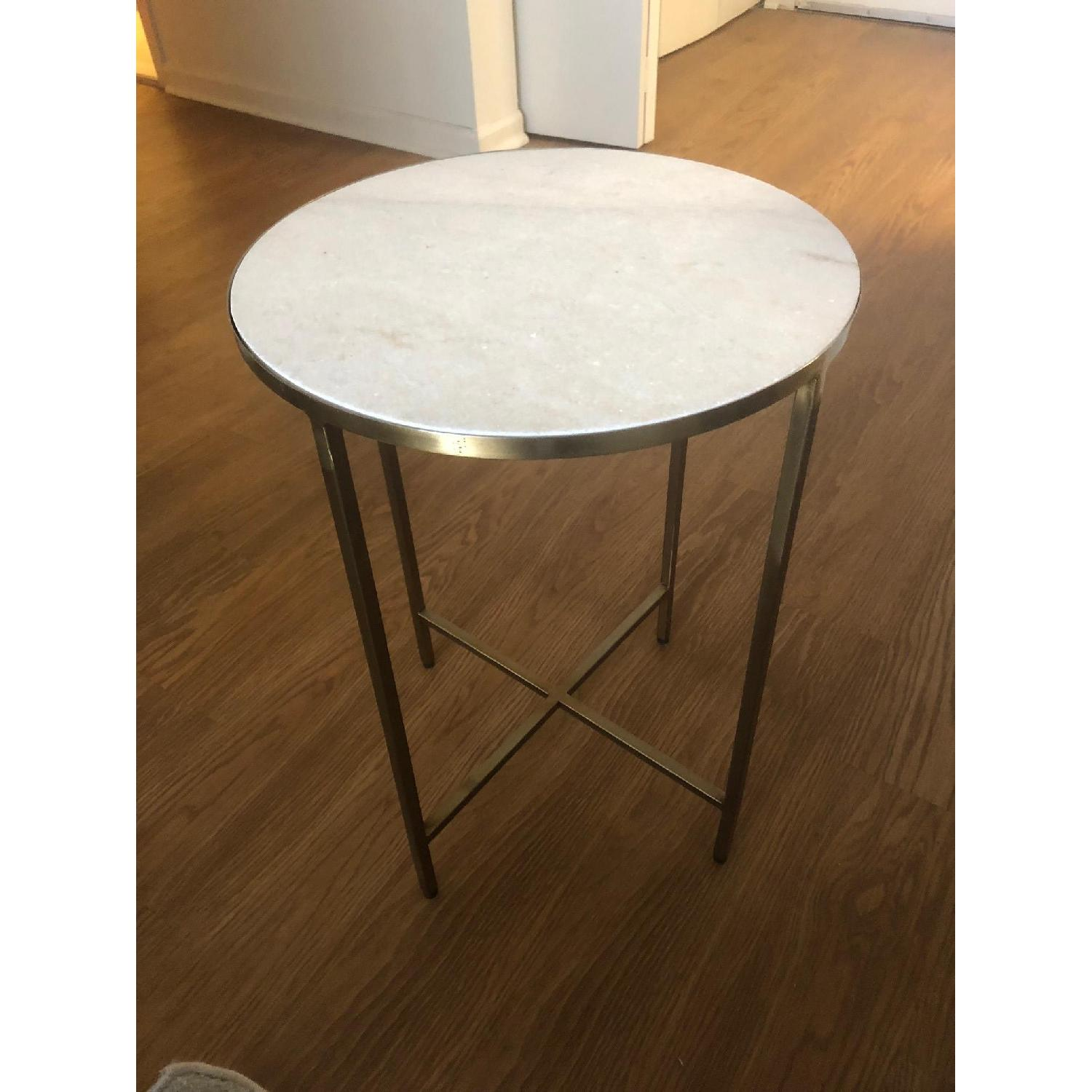 Faux White Marble & Gold Brass Side Table AptDeco