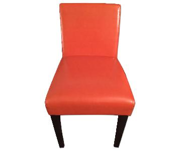 West Elm Orange Leather Side Chair