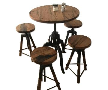 Reclaimed Wood & Iron Adjustable High-Top Table w/ 4 Stools