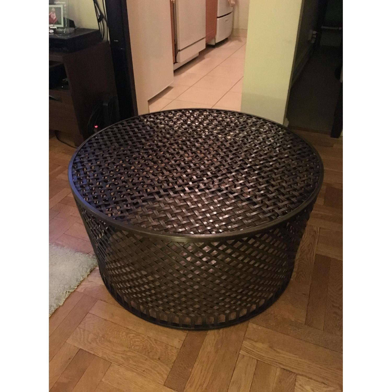 Round Woven Metal Coffee Table AptDeco