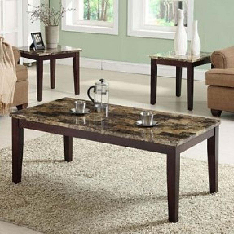 Mahogany Faux Marble Coffee Table AptDeco
