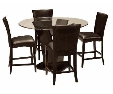 Raymour & Flanigan Glass Counter Height 5-Piece Dining Set