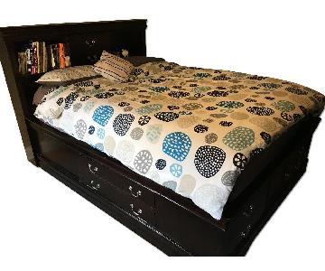 Jaron's Furniture Merlot Espresso Queen Storage Bed
