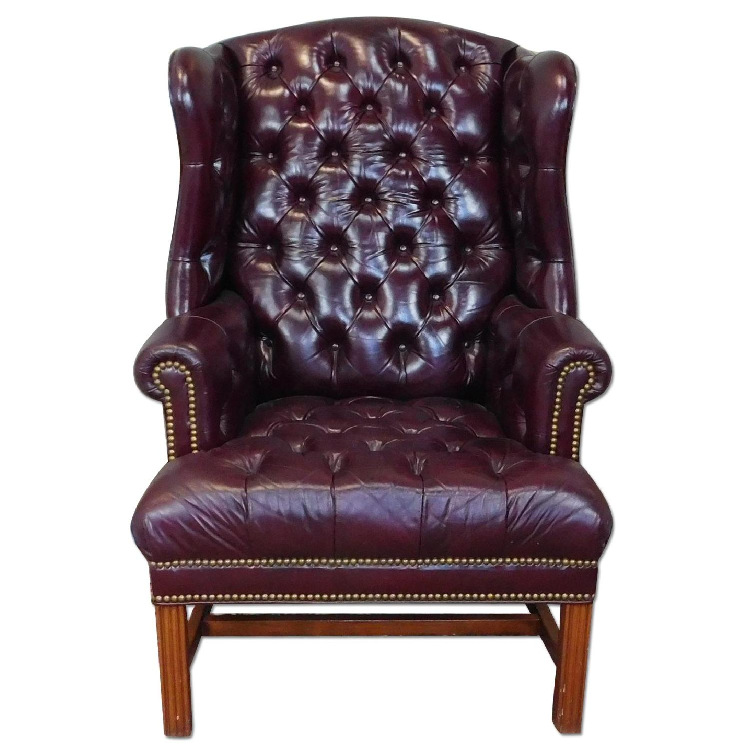 1990s Reproduction English Tufted Leather Wingback Armchair