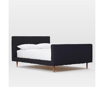 West Elm Josef Upholstered Queen Size Bed in Indigo
