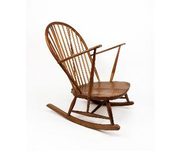 Mid-Century Modern Wooden Windsor Style Rocking Chair