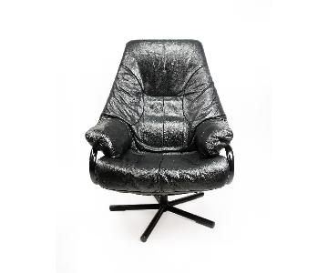 Mid-Century Modern Black Leather Reclining Chair