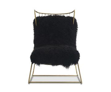 Mitchell Gold + Bob Williams Enzo Brass Chair w/ Tibetan Fur