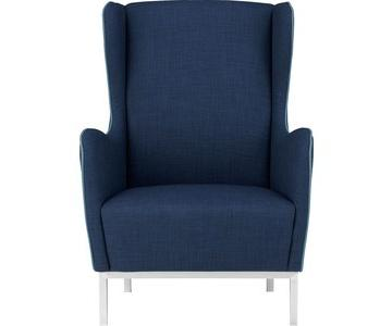 CB2 Study Blue Wingback Chair