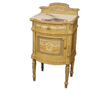 Italian Lacquered Bedside Table w/ Marble Top
