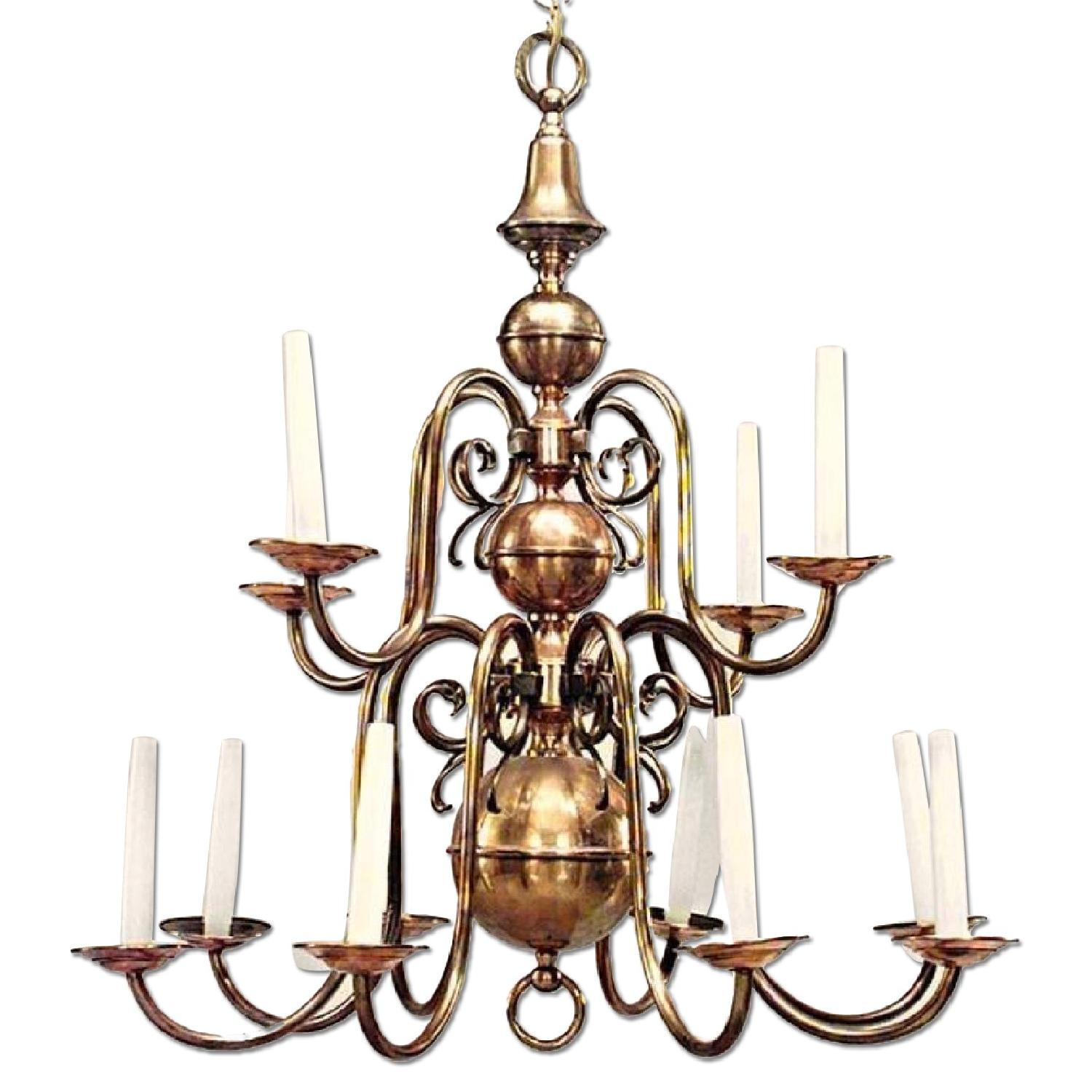 12-Arm Antique Dutch Baroque Style Copper Brass Chandelier