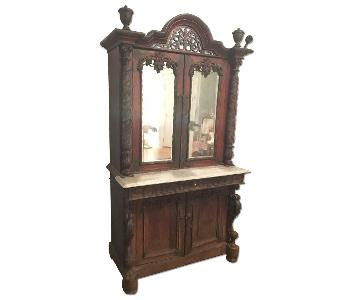 19th Century Indian Hand Carved Wood & Marble Cabinet