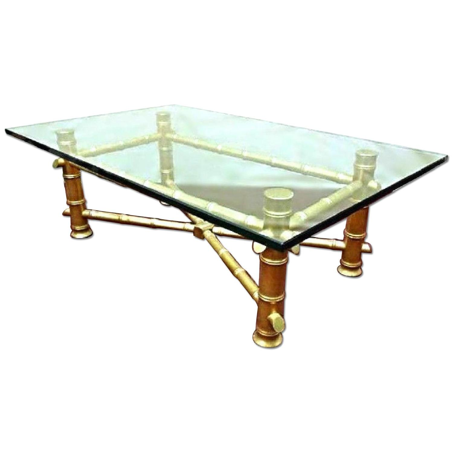 Faux Bamboo Hollywood Regency Mid Century Modern Glass Top