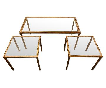 Antique Steel & Glass Coffee Table
