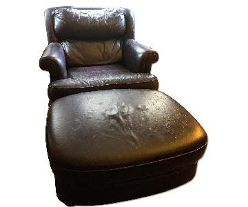 Classic Leather Brown Leather Armchair & Ottoman