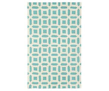 Pottery Barn Teen Patterned Rug in Pool/Cream