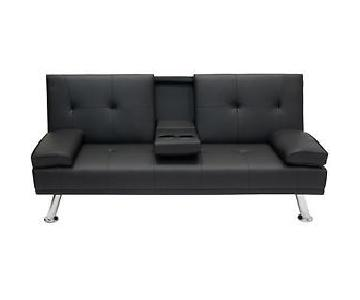 Black PU Leather Futon