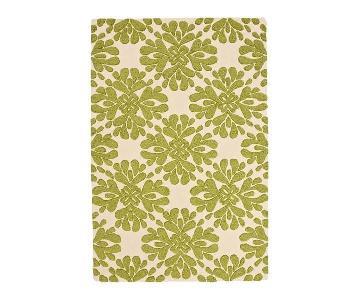 Anthropologie Green Floral Coqo Rug