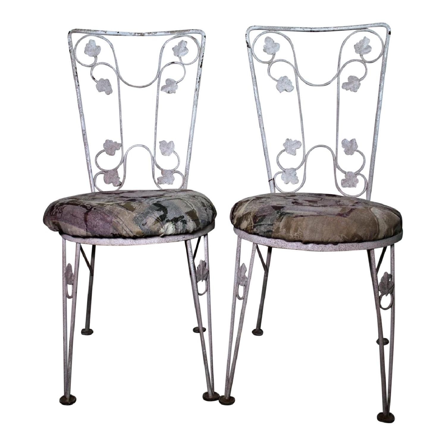 Iron Leaf Design Painted Patio Outdoor Chair