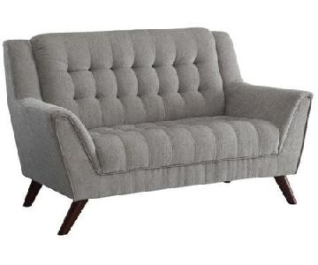 Tufted Dove Grey Loveseat