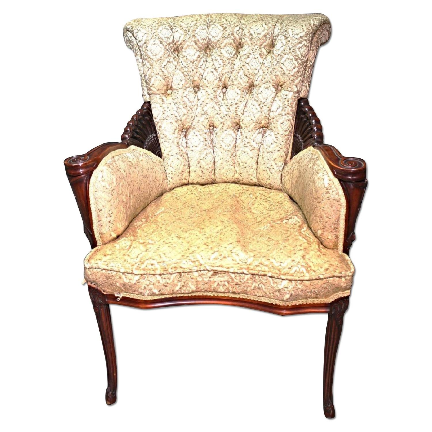 Tufted Upholstered Fireside Mahogany Armchair