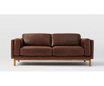 West Elm Dekalb Sofa in Molasses Leather