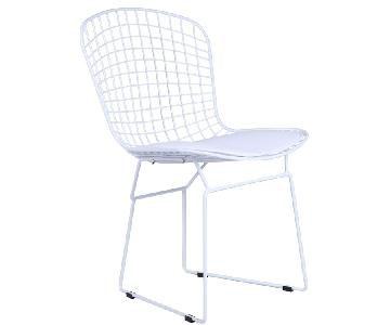 Retro Style Wire Dining Chair w/ White Leatherette Cushion