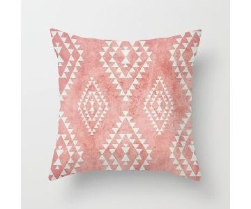 Society 6 Mint & Coral Tribal Throw Pillow