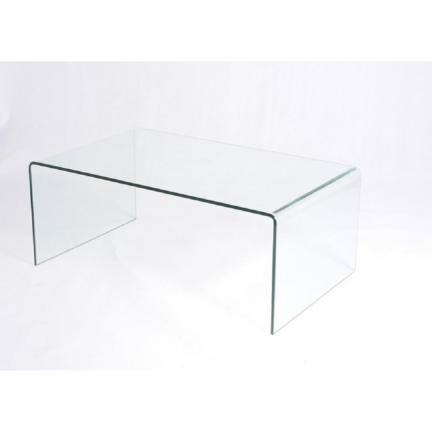 Solid Glass Waterfall Coffee Table AptDeco