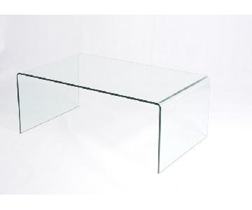 Solid Glass Waterfall Coffee Table