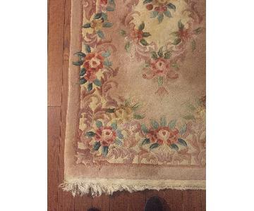 Floral Rose Colored Wool Runner Rug